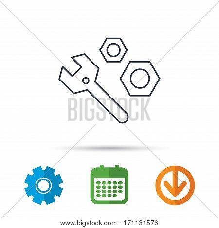 Repair icon. Spanner tool with screw-nut sign. Calendar, cogwheel and download arrow signs. Colored flat web icons. Vector