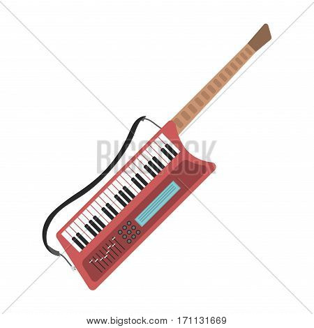 Music synthesizer guitar keyboard audio piano vector illustration. Composer concept electric or electronic entertainment equipment. Digital harmony classical note tool.