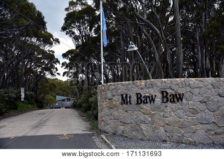 Mt Baw Baw Australia - Jan 4 2017. The Entrance of Mt Baw Baw Ski Alpine Resort. Mount Baw Baw Alpine Resort is an unincorporated area of Victoria surrounded by the Shire of Baw Baw.
