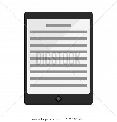 Modern black ebook tablet pc isolated on white vector illustration. Internet communication device information mobile page. Digital technology digital equipment.