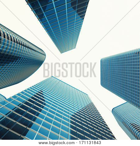 Bottom view of modern skyscrapers in business district. Industrial architecture, business construction and estate financial concept, 3d rendering