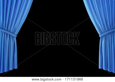 Blue velvet stage curtains, scarlet theatre drapery. Silk classical curtains, blue theater curtain. 3d rendering