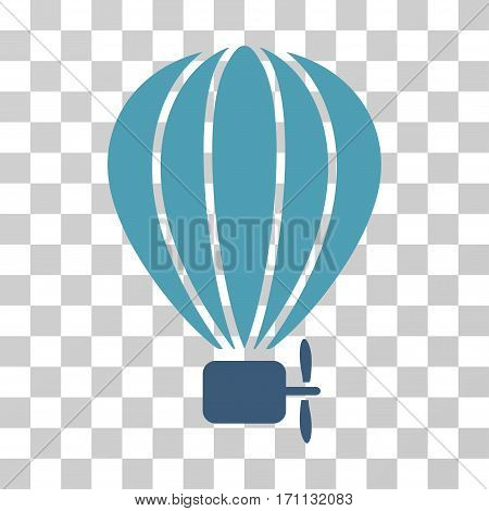 Aerostat Balloon icon. Vector illustration style is flat iconic bicolor symbol cyan and blue colors transparent background. Designed for web and software interfaces.