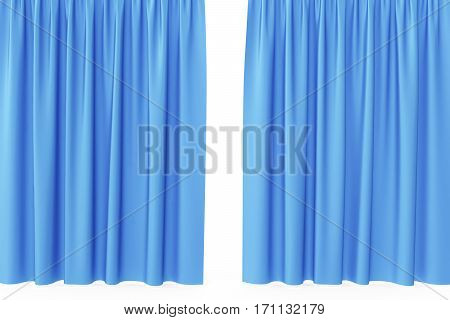 Open blue silk curtains for theater and cinema with a white background, 3d rendering