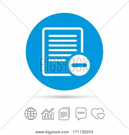 Text file sign icon. Delete File document symbol. Copy files, chat speech bubble and chart web icons. Vector
