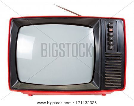 Old red television set made in USSR isolated on white background