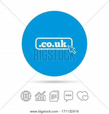 Domain CO.UK sign icon. UK internet subdomain symbol with cursor pointer. Copy files, chat speech bubble and chart web icons. Vector