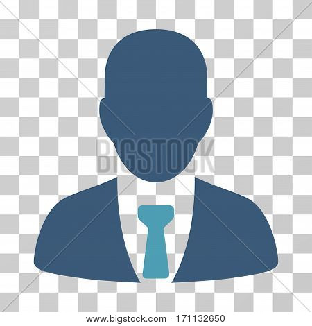 Businessman icon. Vector illustration style is flat iconic bicolor symbol cyan and blue colors transparent background. Designed for web and software interfaces.