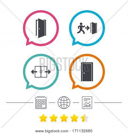 Automatic door icon. Emergency exit with human figure and arrow symbols. Fire exit signs. Calendar, internet globe and report linear icons. Star vote ranking. Vector