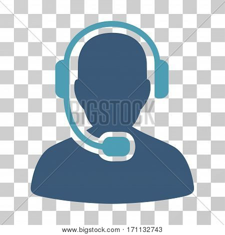 Call Center Operator icon. Vector illustration style is flat iconic bicolor symbol cyan and blue colors transparent background. Designed for web and software interfaces.