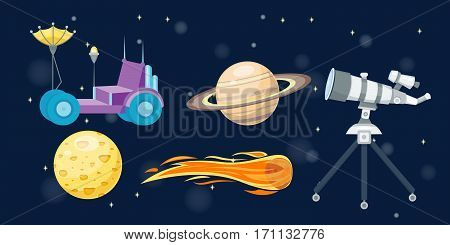 Astronomy solar system. Cute cartoon planets and sun astrology space vector. Colorful transportation star science planet collection. Spaceship cute technology travel art.