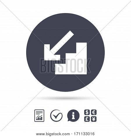 Downstairs icon. Down arrow sign. Report document, information and check tick icons. Currency exchange. Vector