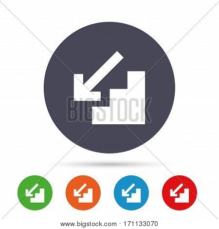 Downstairs icon. Down arrow sign. Round colourful buttons with flat icons. Vector