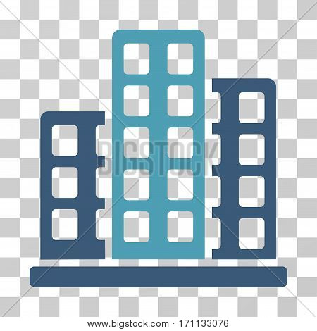 City icon. Vector illustration style is flat iconic bicolor symbol cyan and blue colors transparent background. Designed for web and software interfaces.
