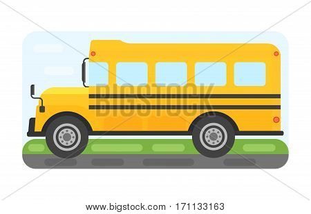 Illustration of school bus riding yellow transportation education. Student child isolated safety stop drive vector. Travel automobile public trip childhood truck.