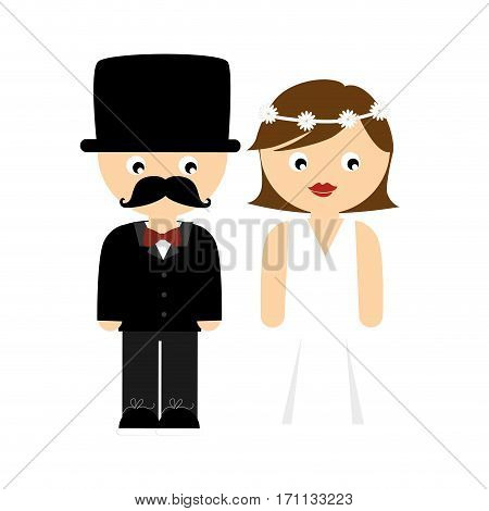 colorful cartoon wedding couple with costumes vector illustration