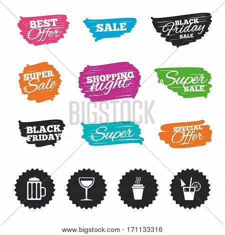 Ink brush sale banners and stripes. Drinks icons. Take away coffee cup and glass of beer symbols. Wine glass and cocktail signs. Special offer. Ink stroke. Vector