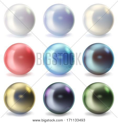 Set pearls isolated on white backgorund. Oyster pearls ball for luxury accessories. Sphere shiny sea pearls, 3d rendering