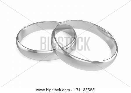 Two silver engagement or wedding ring isolated on white background, 3d rendering