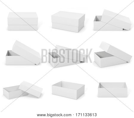 White blank mockup boxes, square boxes isolated on white background. Open and closed boxes. Boxes for your design project, 3d rendering