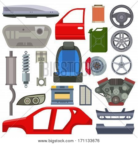 Car service parts flat vector illustration. Auto mechanic repair of machines and equipment. Car diagnostics. Vector illustration and flat icons.