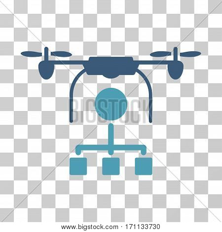 Drone Distribution icon. Vector illustration style is flat iconic bicolor symbol cyan and blue colors transparent background. Designed for web and software interfaces.