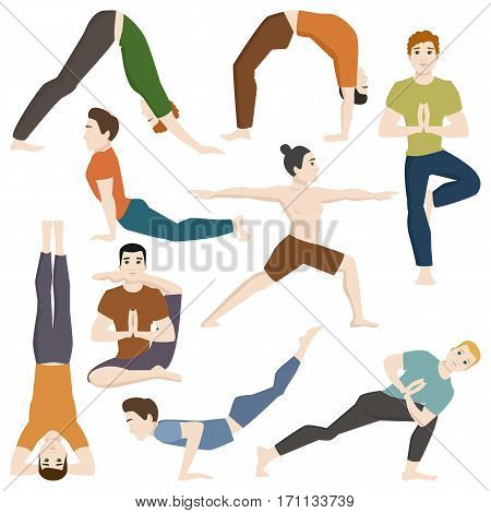 Yoga positions mans characters class vector illustration. Meditation male concentration human peace sport. Lifestyle relaxation health exercise.