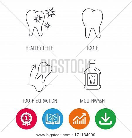 Tooth, mouthwash and healthy teeth icons. Tooth extraction linear sign. Award medal, growth chart and opened book web icons. Download arrow. Vector