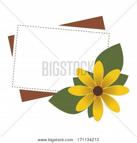 frame rectangular with yellow flower vector illustration