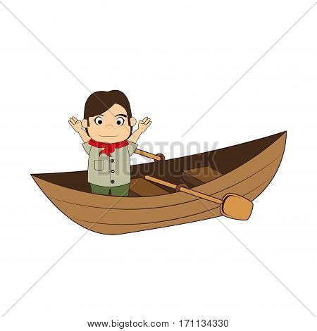 Canoe with child explorer and rowing vector illustration