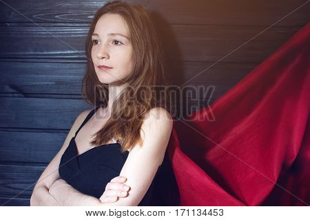 Superwoman Office Worker Standing In A Suit And Red Cloak
