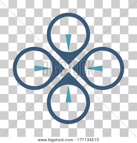 Fly Drone icon. Vector illustration style is flat iconic bicolor symbol cyan and blue colors transparent background. Designed for web and software interfaces.