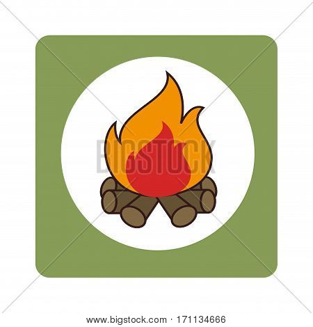 square border with wood fire vector illustration