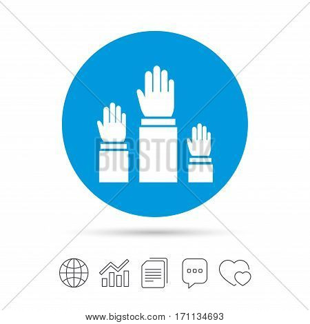 Election or voting sign icon. Hands raised up symbol. People referendum. Copy files, chat speech bubble and chart web icons. Vector