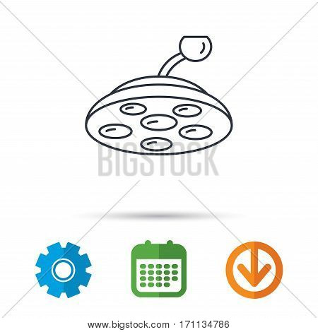 Surgical lamp icon. Surgeon light sign. Calendar, cogwheel and download arrow signs. Colored flat web icons. Vector
