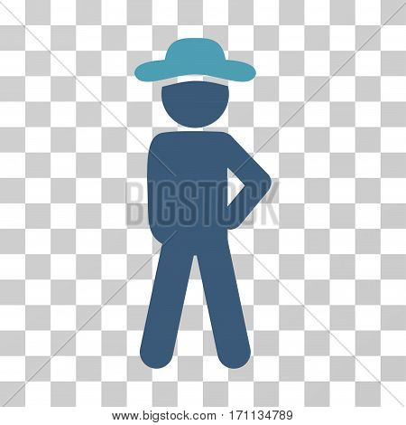 Gentleman Audacity icon. Vector illustration style is flat iconic bicolor symbol cyan and blue colors transparent background. Designed for web and software interfaces.