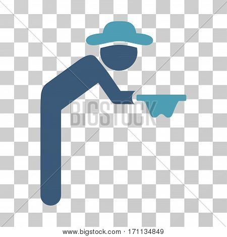 Gentleman Beggar icon. Vector illustration style is flat iconic bicolor symbol cyan and blue colors transparent background. Designed for web and software interfaces.