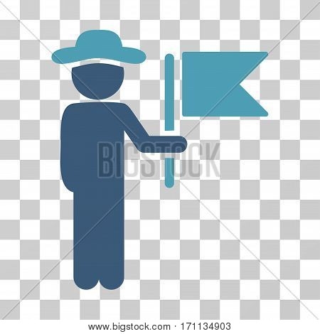 Gentleman Commander icon. Vector illustration style is flat iconic bicolor symbol cyan and blue colors transparent background. Designed for web and software interfaces.