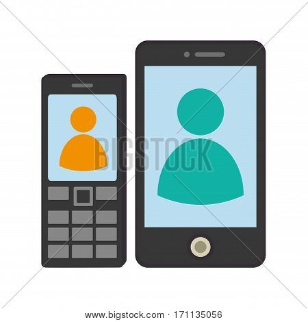 set collection tech cellphones with buttons and touch screen vector illustration