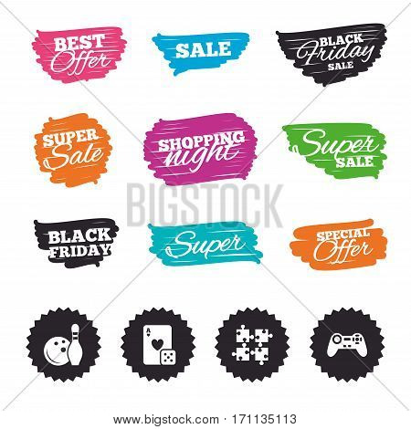 Ink brush sale banners and stripes. Bowling and Casino icons. Video game joystick and playing card with puzzles pieces symbols. Entertainment signs. Special offer. Ink stroke. Vector