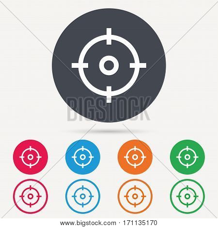 Target icon. Crosshair aim symbol. Round circle buttons. Colored flat web icons. Vector