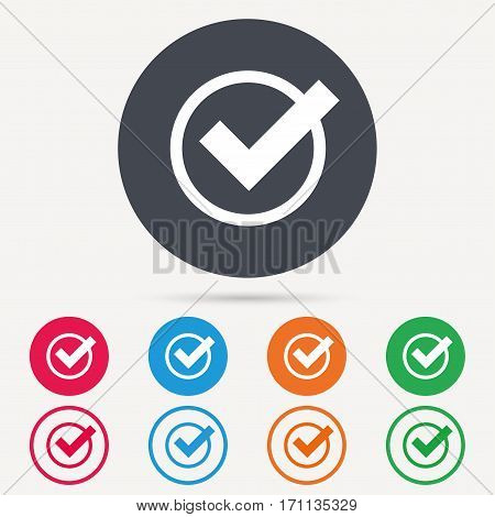 Tick icon. Check or confirm symbol. Round circle buttons. Colored flat web icons. Vector