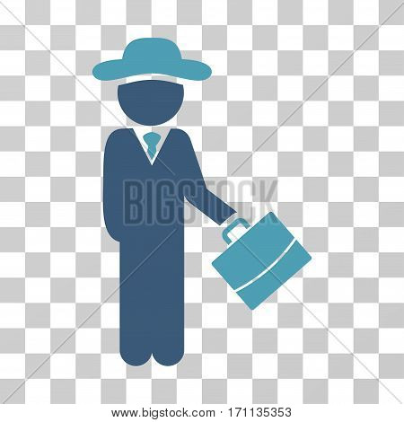 Gentleman Manager icon. Vector illustration style is flat iconic bicolor symbol cyan and blue colors transparent background. Designed for web and software interfaces.