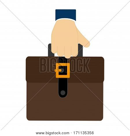 colorful hand holding a executive suitcase icon vector illustration