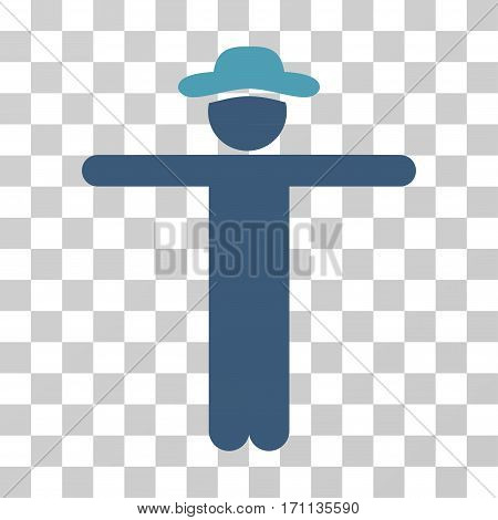 Gentleman Scarescrow icon. Vector illustration style is flat iconic bicolor symbol cyan and blue colors transparent background. Designed for web and software interfaces.