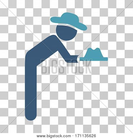 Gentleman Servant icon. Vector illustration style is flat iconic bicolor symbol cyan and blue colors transparent background. Designed for web and software interfaces.