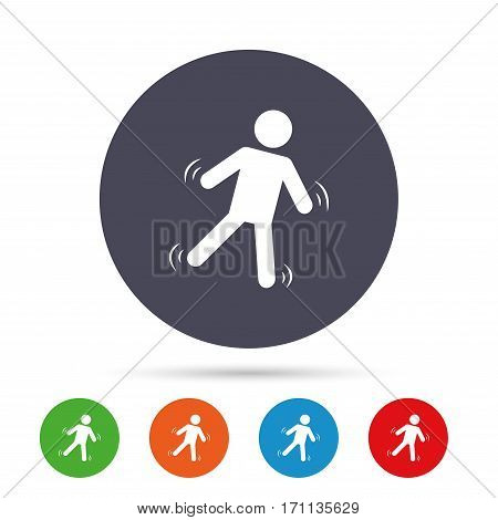 Man falls sign icon. Falling down human symbol. Caution slippery. Round colourful buttons with flat icons. Vector