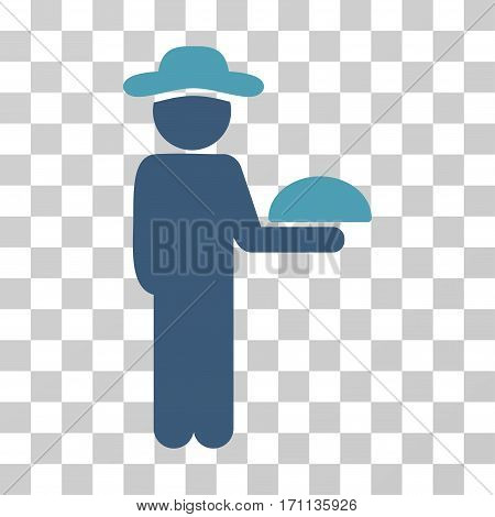 Gentleman Waiter icon. Vector illustration style is flat iconic bicolor symbol cyan and blue colors transparent background. Designed for web and software interfaces.