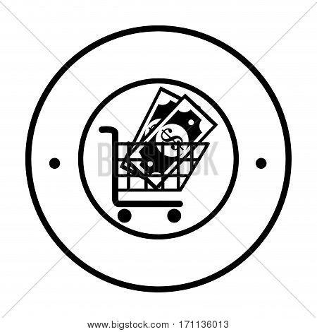 circular border with shopping cart with bills vector illustration