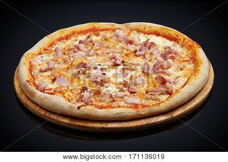Pizza with bacon, mozzarella cheese, Parmesan cheese, oregano on a black background
